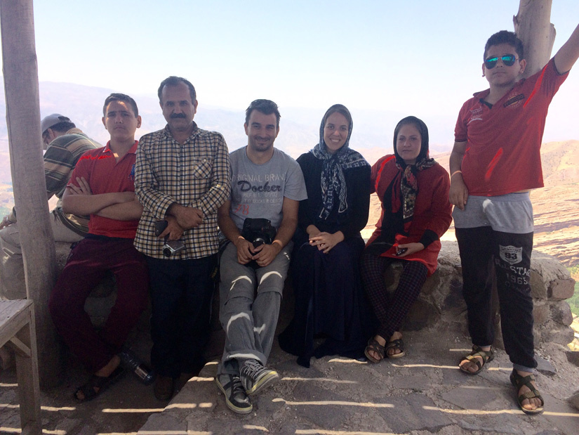 Hanging out with an Iranian family at the top of the Alamut Castle