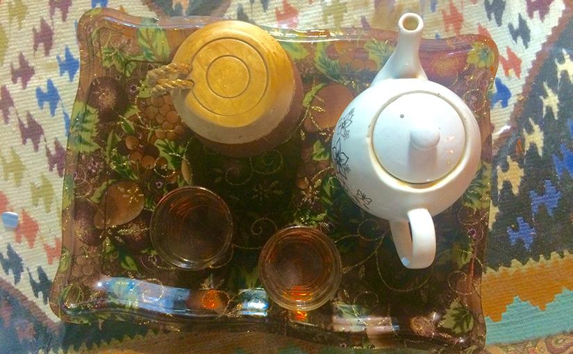 Enjoying some Iranian tea