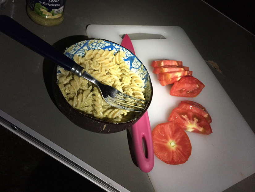 Dinner - pesto pasta and local tomatoes