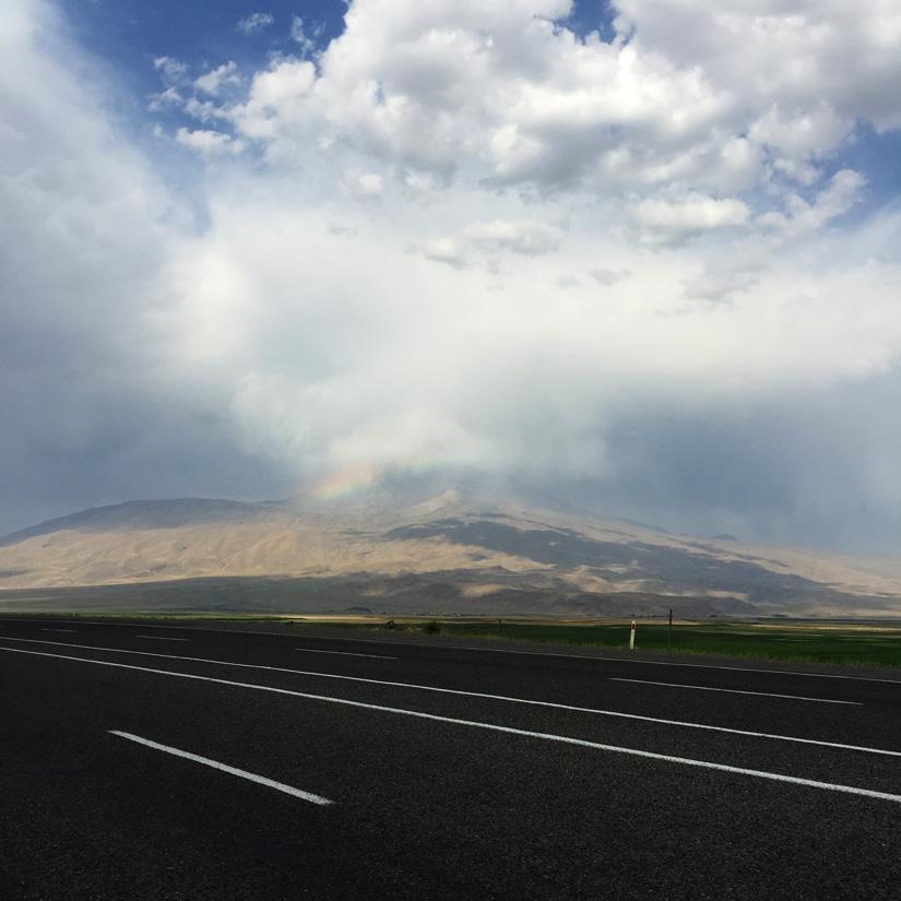 A very small rainbow towards Mount Ararat