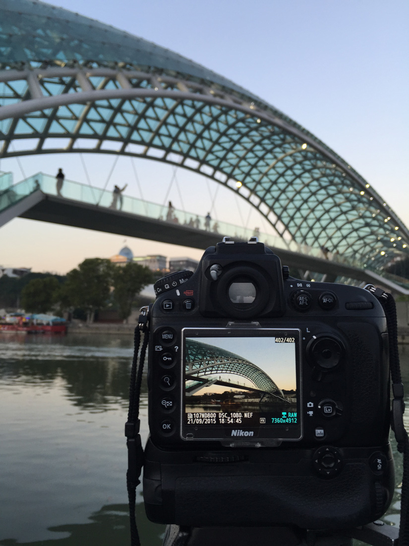 Photographing the Peace Bridge in Tbilisi