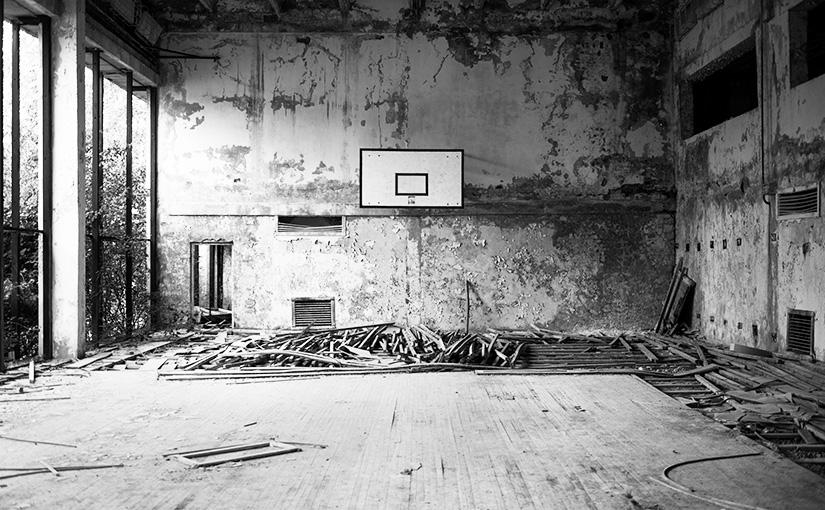 Deserted basketball court in Pripyat