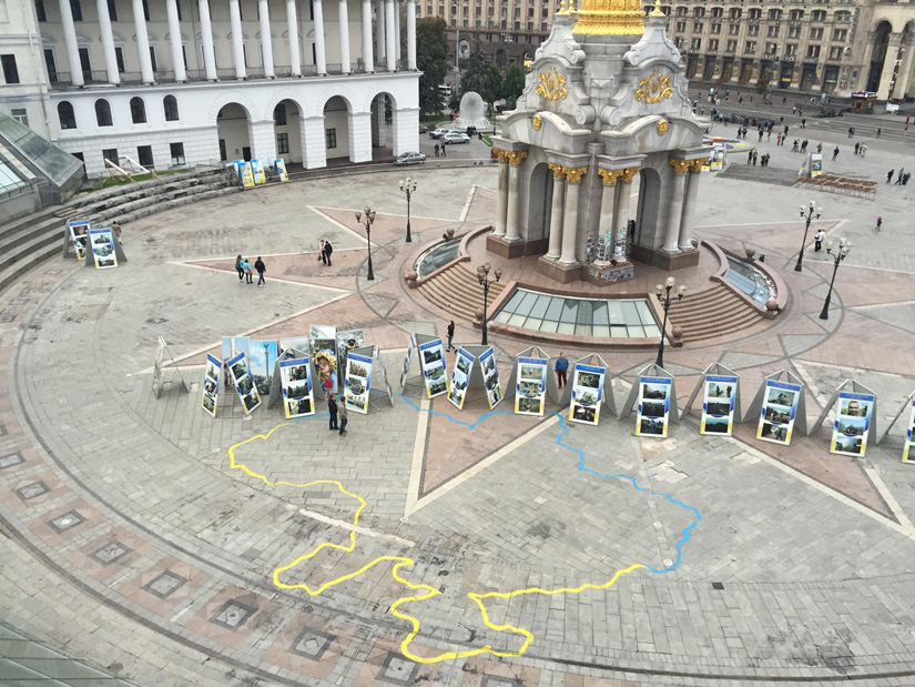 The main square in Kiev with photographs of the soldiers who died